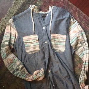 Hooded Button Up Denim Shirt